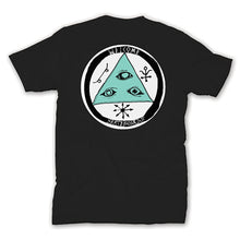 Load image into Gallery viewer, Welcome Talisman Tri Colour black/teal/white T shirt