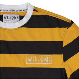 Welcome Big Beautiful Stripe Short Sleeve Knit black/gold/white