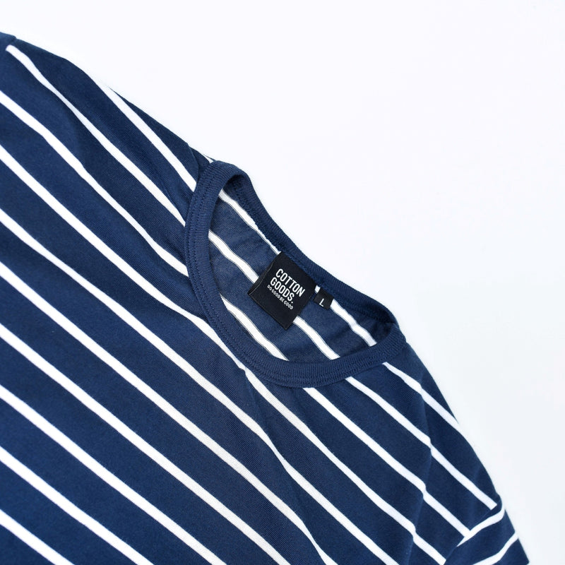 ADYA NAVY WHITE STRIPED TEES