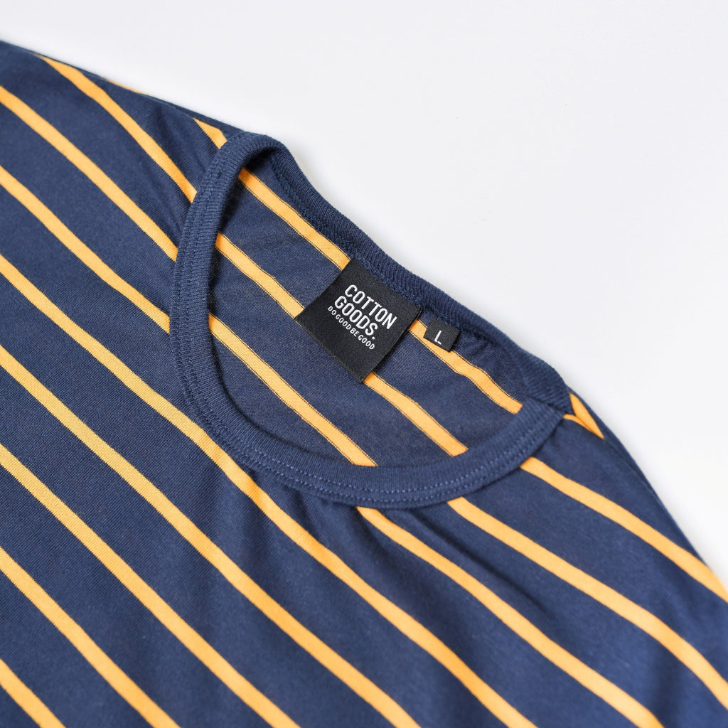 ABIAN NAVY YELLOW STRIPED TEES