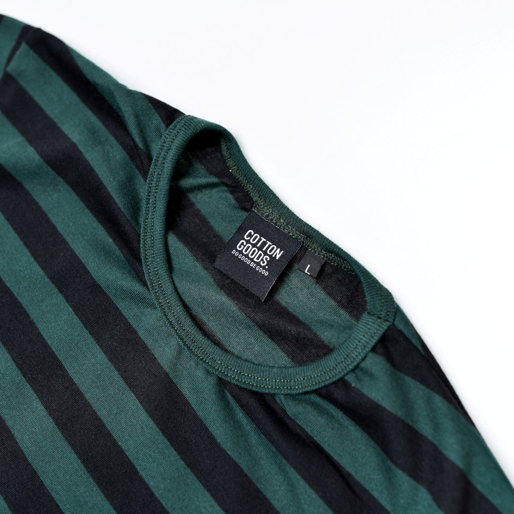 DARY GREEN BLACK STRIPED TEES