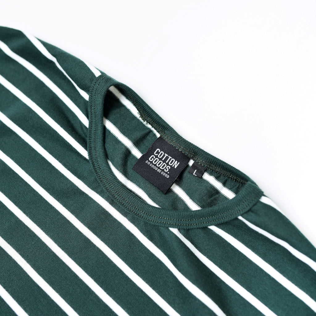 ERVIN GREEN WHITE STRIPED TEES