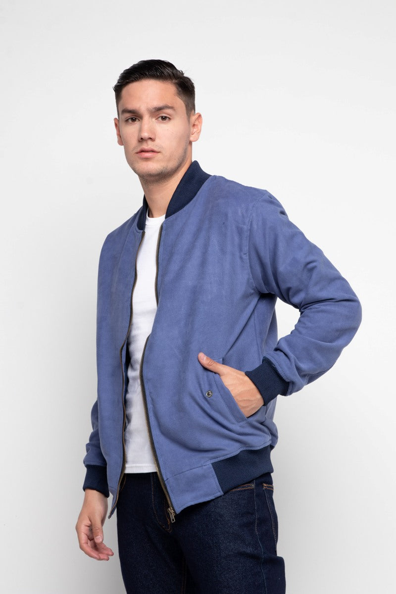 FAUX BLUE SUEDE BOMBER JACKET