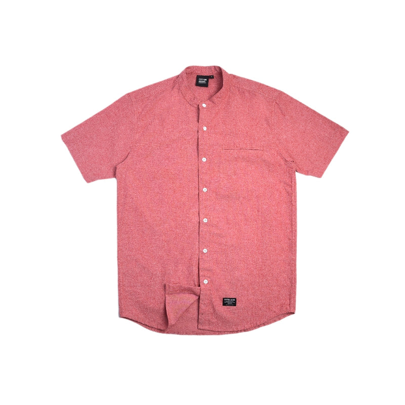 GETHIN SALMON RED SHORTSLEEVE FLANNEL SHIRT