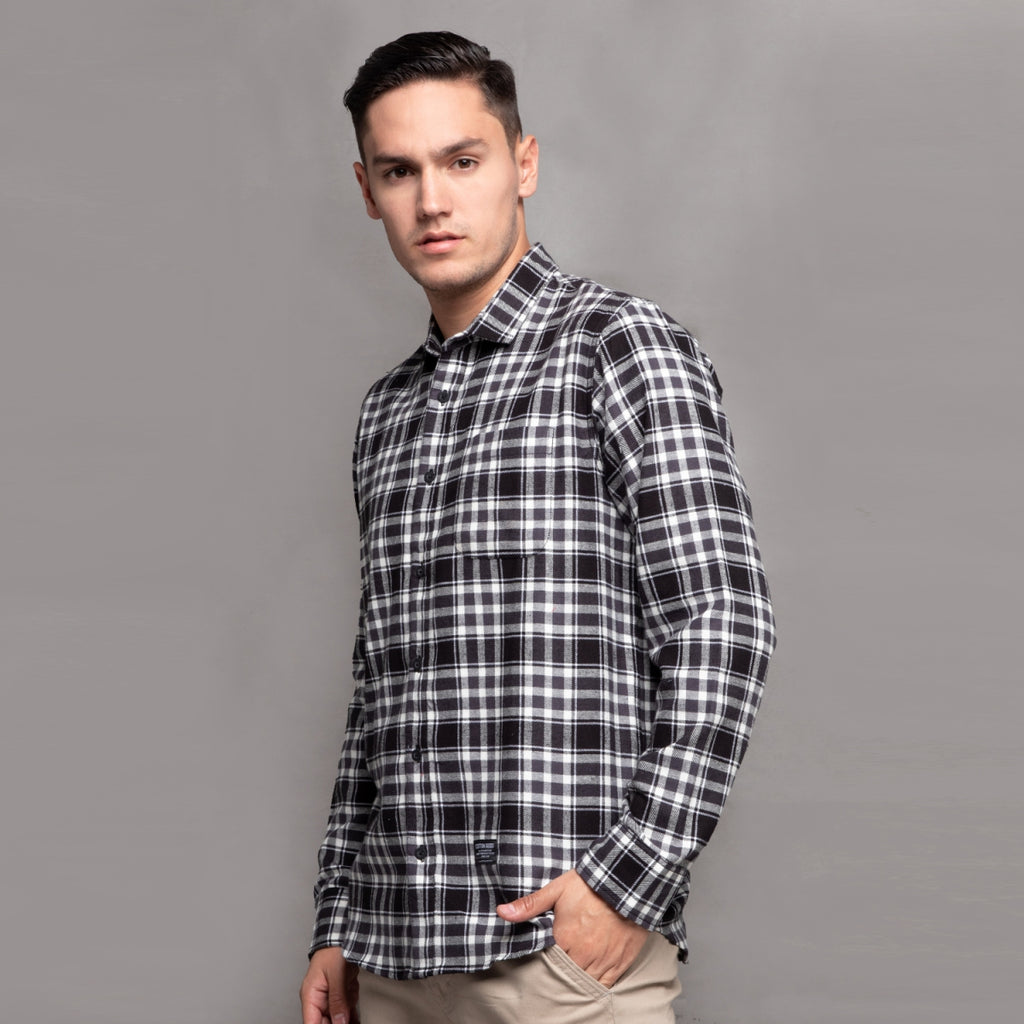 ADONIS BLACK WHITE GREY LONGSLEEVE PLAID FLANNEL SHIRT
