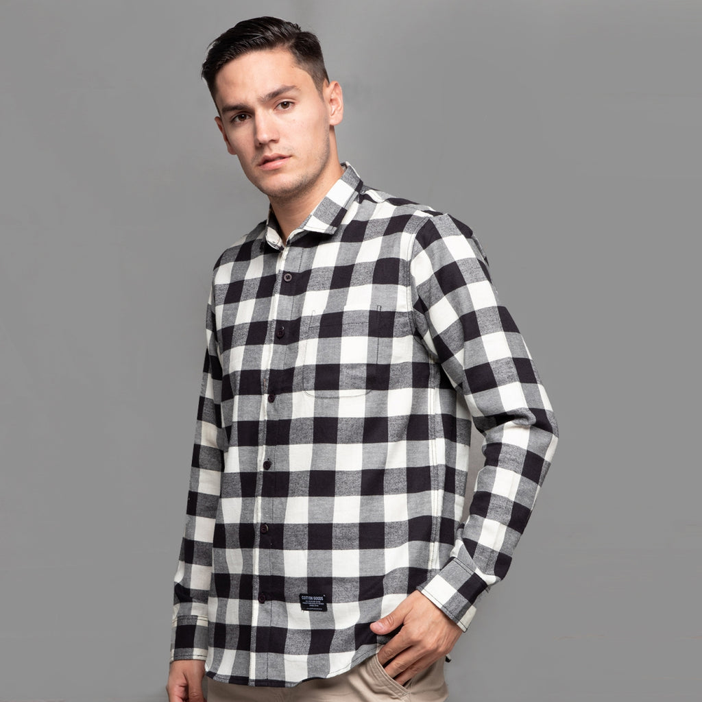 AGENOR BLACK WHITE GREY LONGSLEEVE PLAID FLANNEL SHIRT