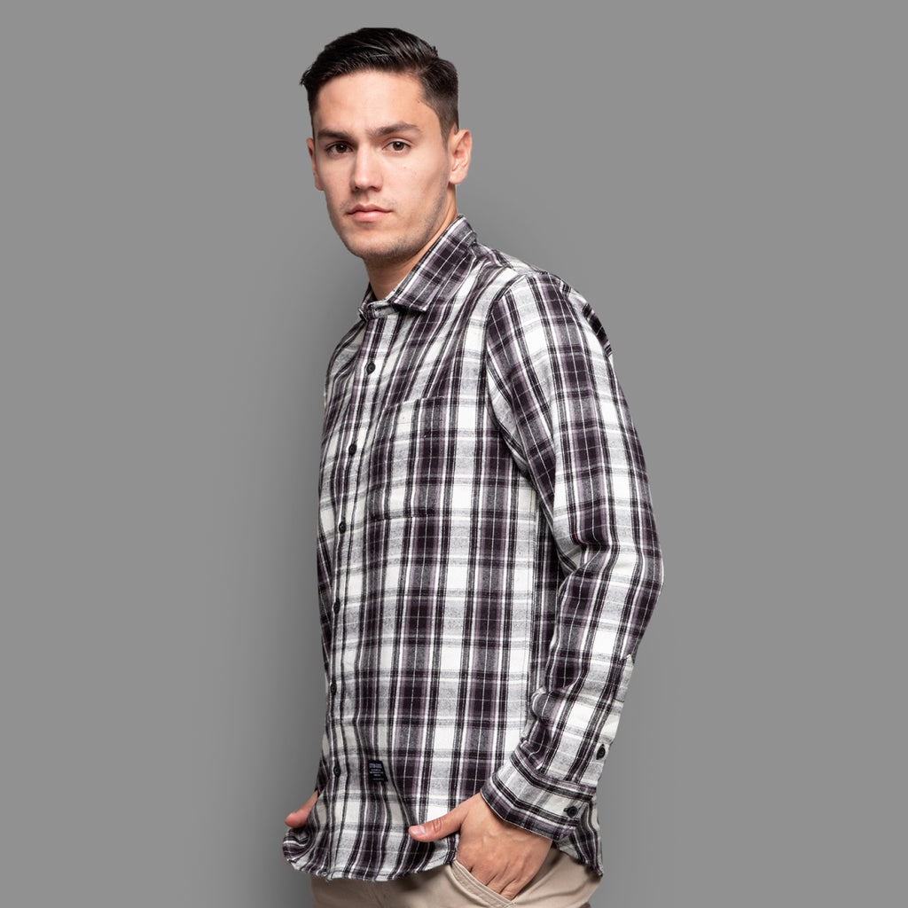 BLASIUS WHITE BLACK LONGSLEEVE PLAID FLANNEL SHIRT