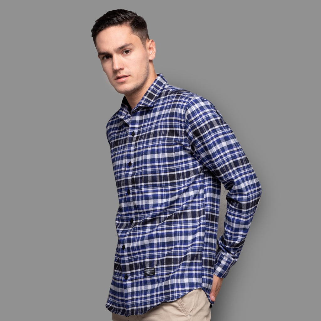 CALISTO NAVY BLUE WHITE GREY LONGSLEEVE PLAID FLANNEL SHIRT