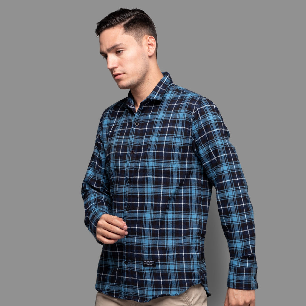 CHIRON NAVY BLUE BLACK WHITE LONGSLEEVE PLAID FLANNEL SHIRT