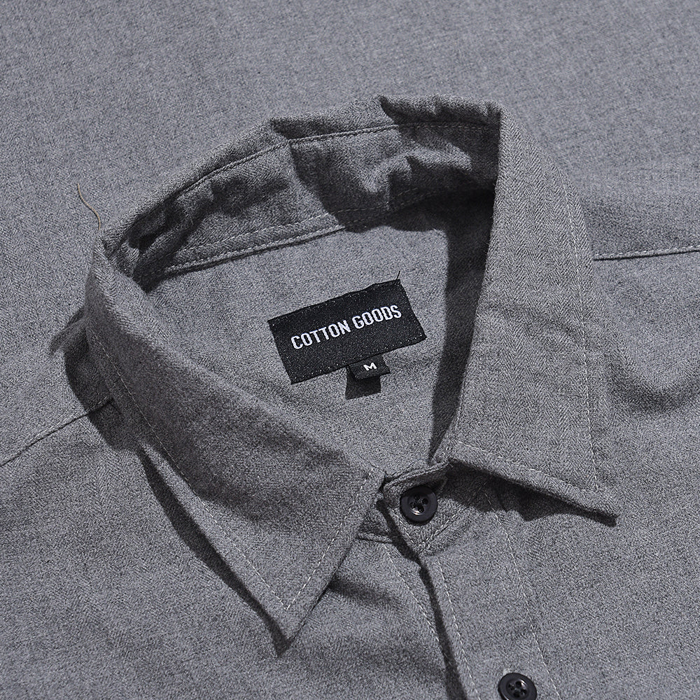 GRAHAM GREY HERRINGBONE SHORTSLEEVE FLANNEL SHIRT