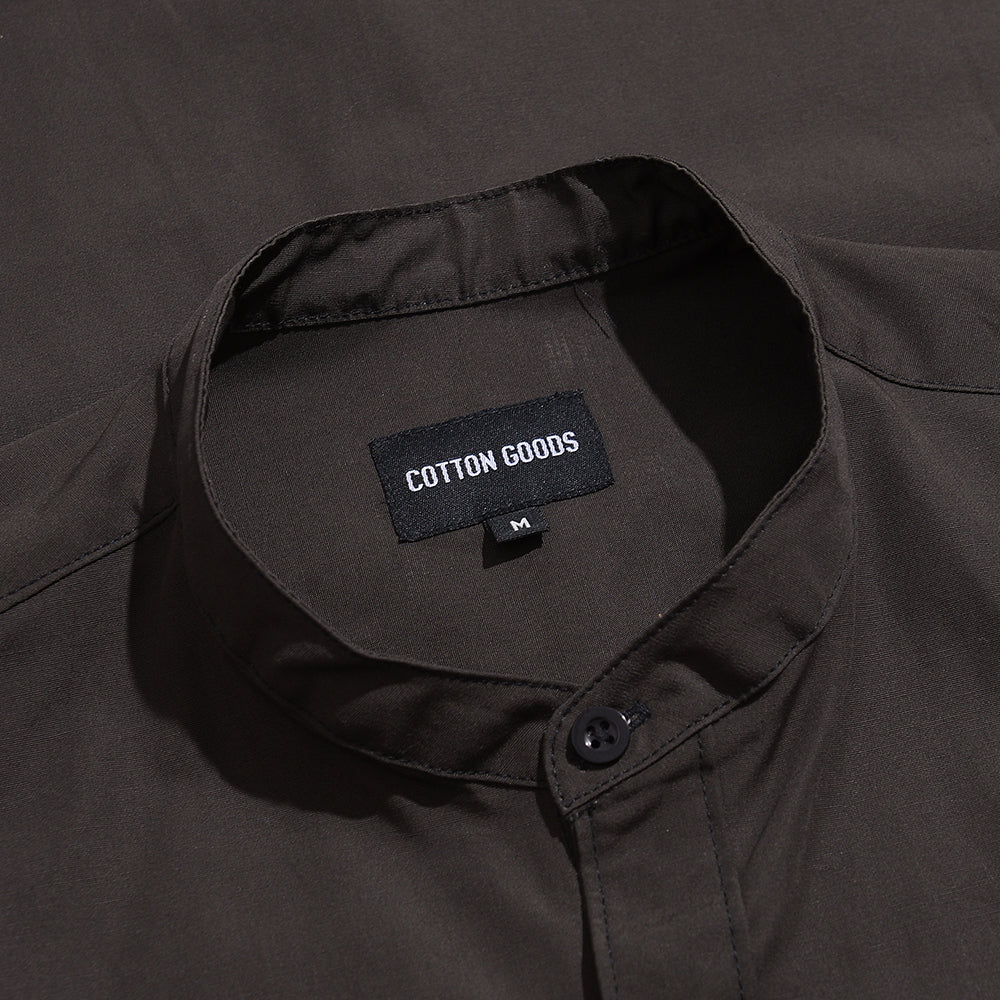 OSVALD GREY SHORTSLEEVE COTTON MANDARIN SHIRT