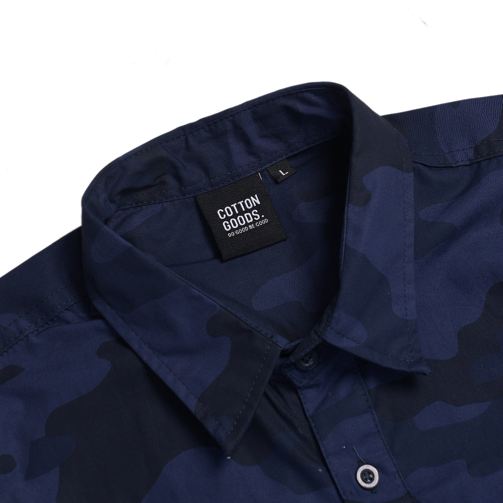 BLUETONE NAVY BLACK SHORTSLEEVE CAMO PATTERN SHIRT