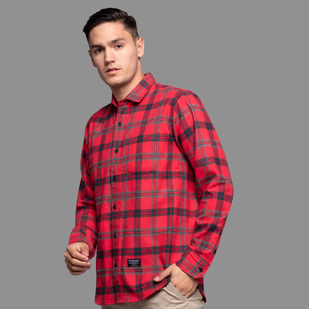 CLAUS RED GREY BLACK LONGSLEEVE PLAID FLANNEL SHIRT