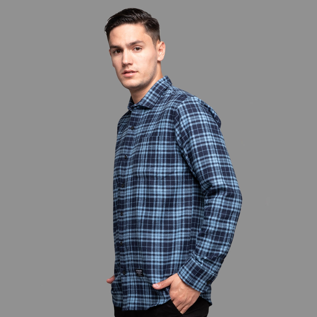 DION NAVY BLUE LONGSLEEVE PLAID FLANNEL SHIRT