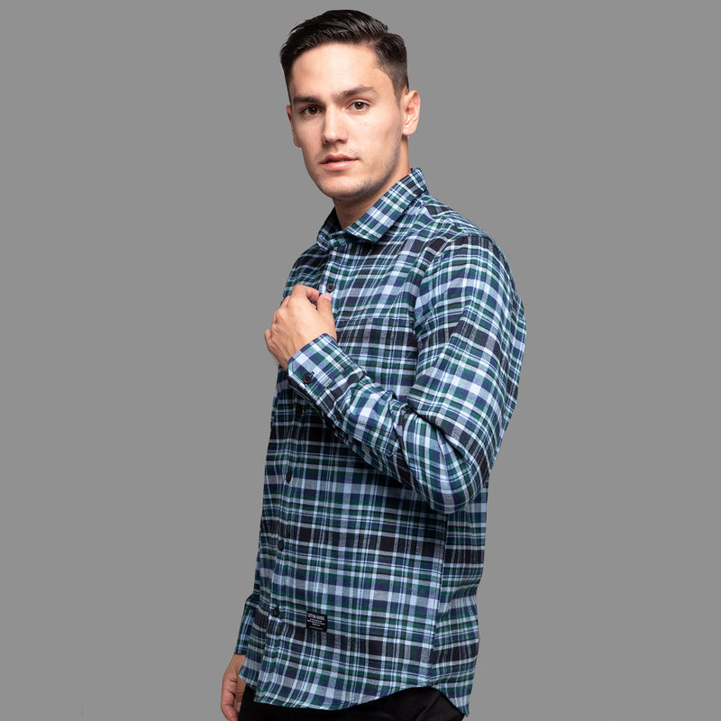 AEGIS BLACK GREY NAVY GREEN LONGSLEEVE PLAID FLANNEL SHIRT