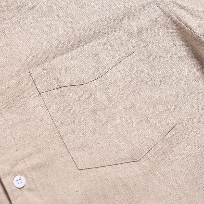 VICENTE CREAM SHORTSLEEVE ROYAL OXFORD SHIRT