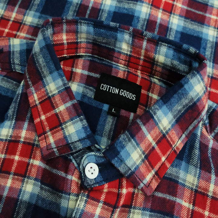 BLANE NAVY RED GREY LONGSLEEVE PLAID FLANNEL SHIRT