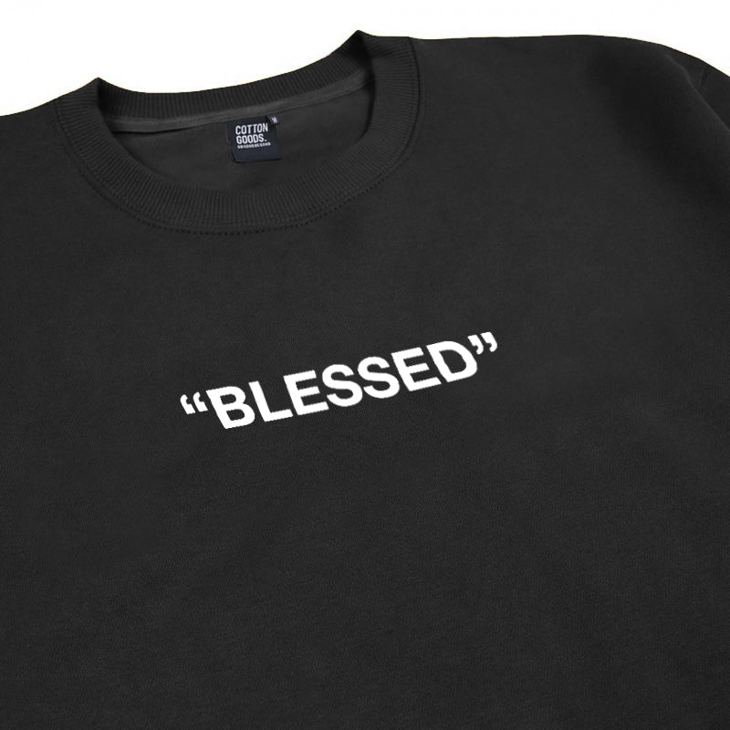 BLESSED BLACK GRAPHIC OVERSIZED CREWNECK