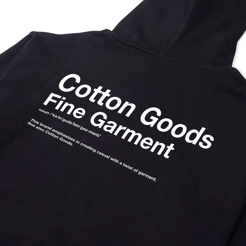 COTTON GOODS FINE GARMENT BLACK GRAPHIC FULLOVER OVERSIZED HOODIE