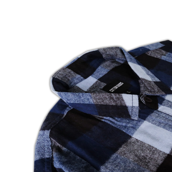 DILLON NAVY WHITE BLACK LONGSLEEVE PLAID FLANNEL SHIRT