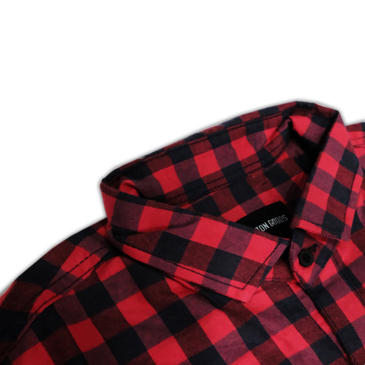 GUTO BLACK RED LONGSLEEVE PLAID FLANNEL SHIRT