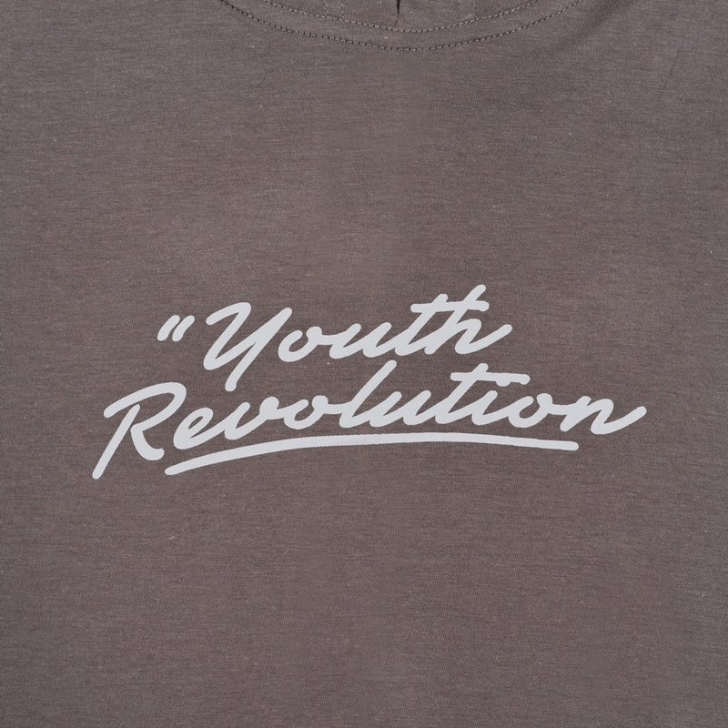 YOUTH REVOLUTION GREY BROWN GRAPHIC T-SHIRT HOODIE