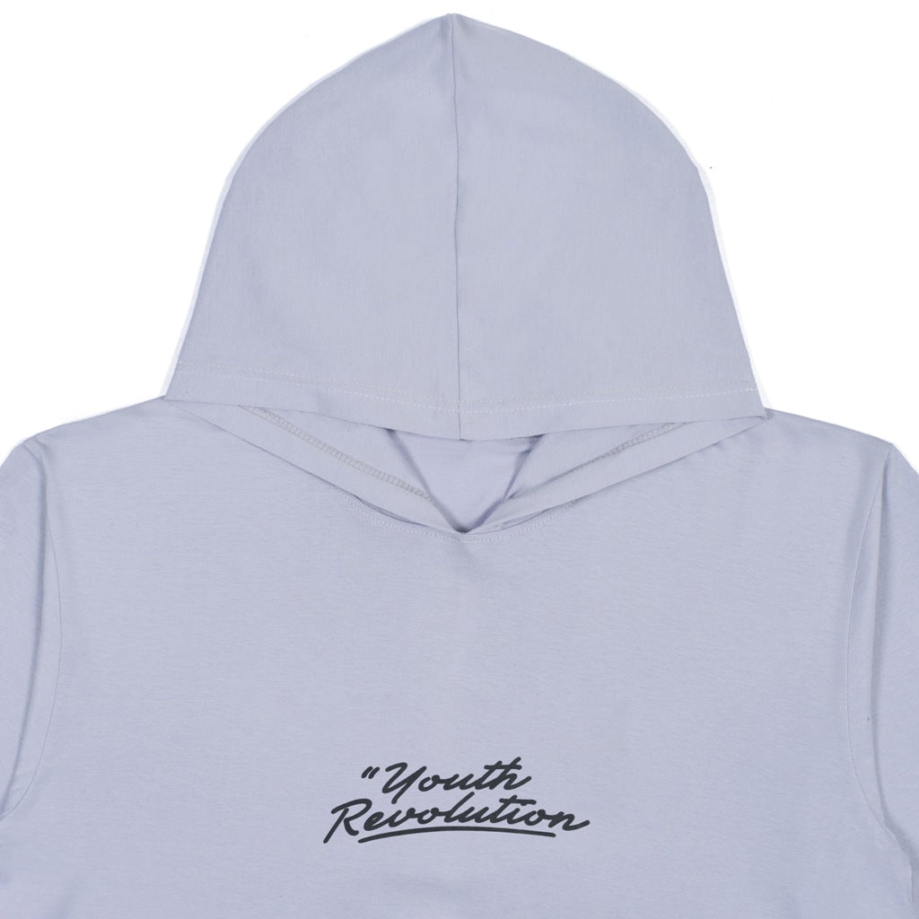 YOUTH REVOLUTION GREY GRAPHIC T-SHIRT HOODIE