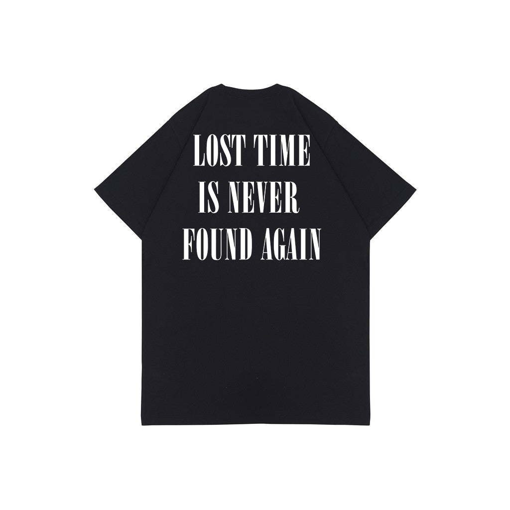 LOST TIME BLACK HW GRAPHIC OVERSIZED TEES