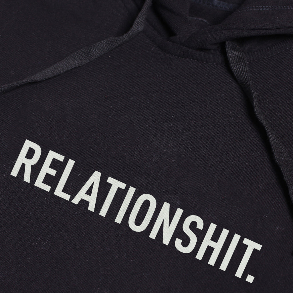 RELATIONSHIT BLACK GRAPHIC PULLOVER HOODIE