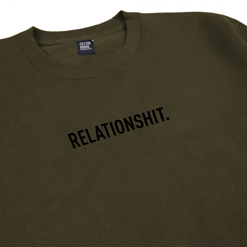 RELATIONSHIT OLIVE GRAPHIC CREWNECK