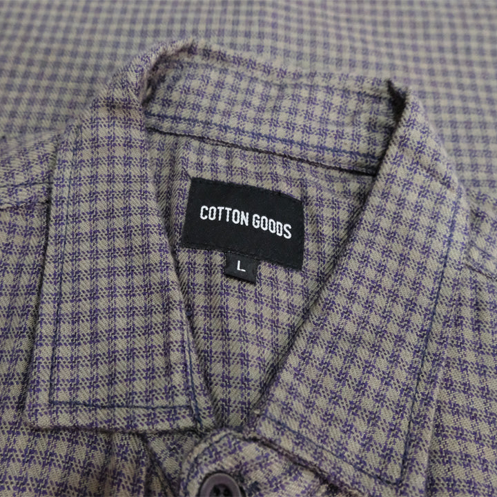 RERY GREY PURPLE LONGSLEEVE PLAID FLANNEL SHIRT