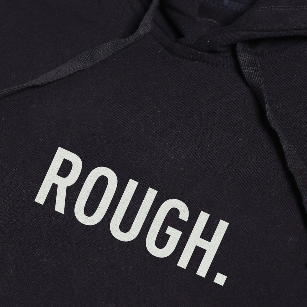 ROUGH BLACK GRAPHIC PULLOVER HOODIE