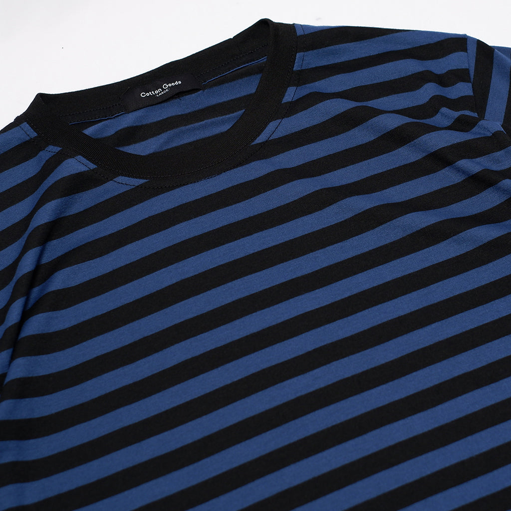GHOZA NAVY BLACK STRIPED TEES