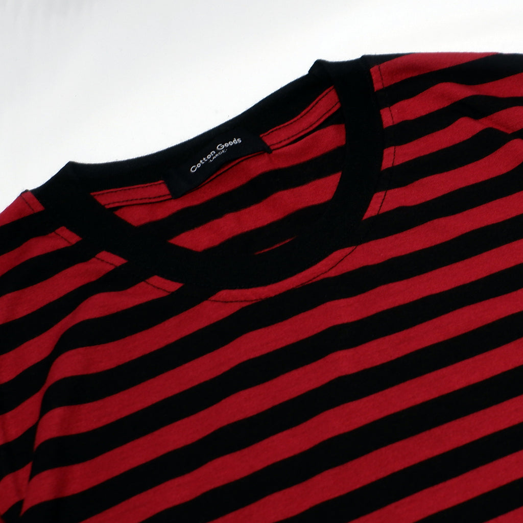 GHOZI MAROON BLACK STRIPED TEES