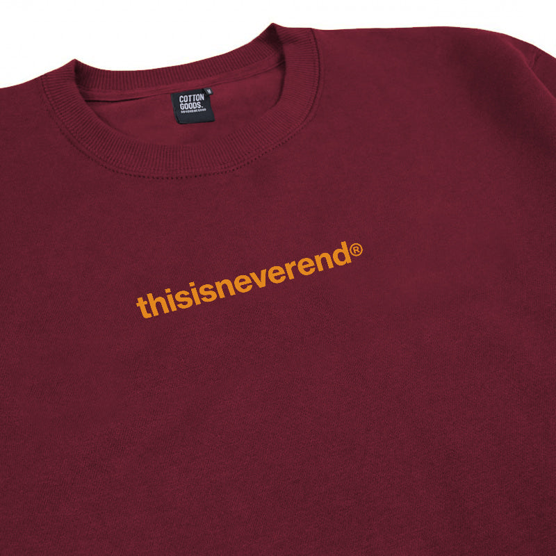 THISISNEVEREND MAROON GRAPHIC CREWNECK