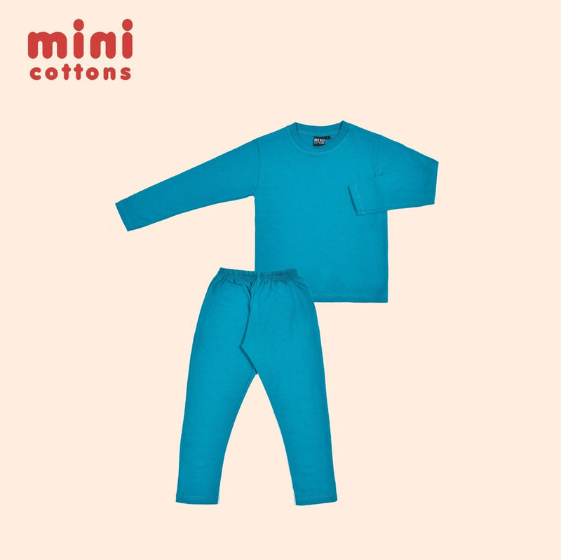 MINI COTTONS PIYAMA ANAK BASIC SKY BLUE