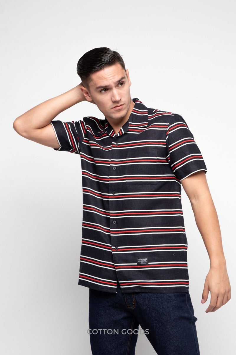 GAVIN BLACK WHITE RED STRIPED OXFORD SHORTSLEEVE SHIRT