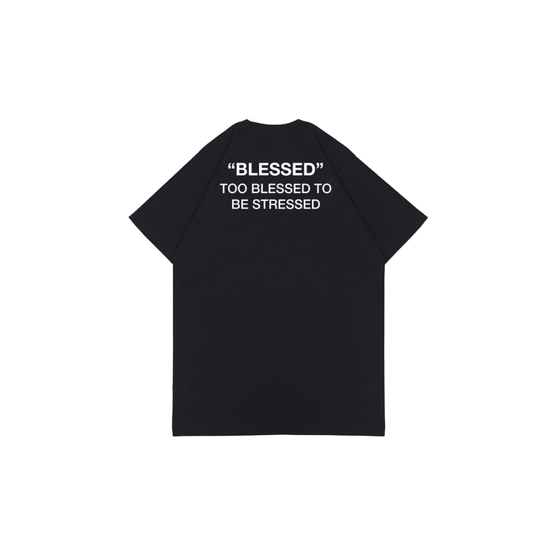 TOO BLESSED TO BE STRESSED BLACK GRAPHIC TEES