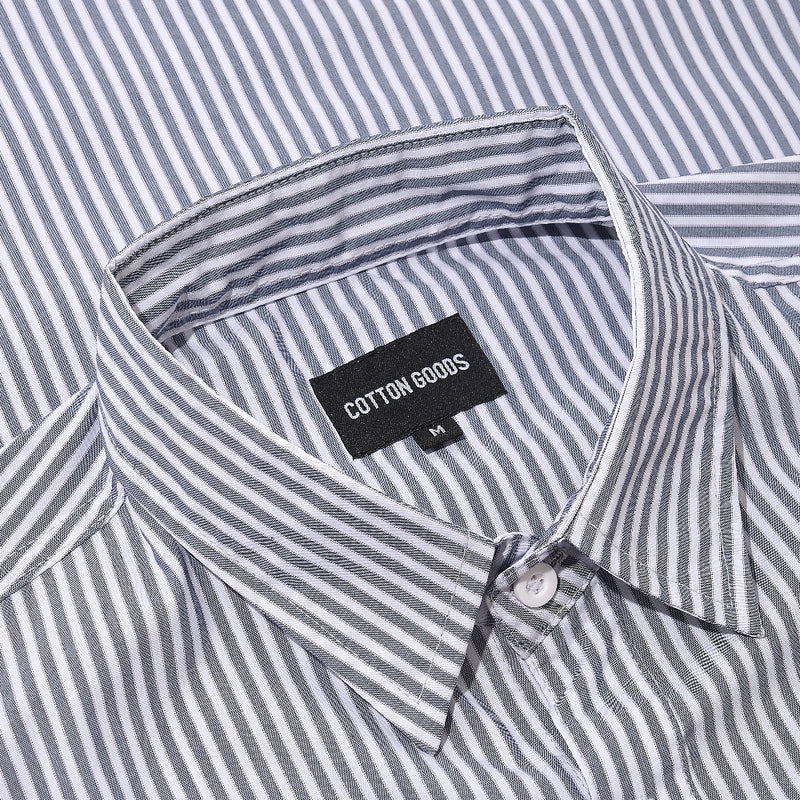 MARVIN WHITE GREY STRIPED OXFORD SHORTSLEEVE SHIRT