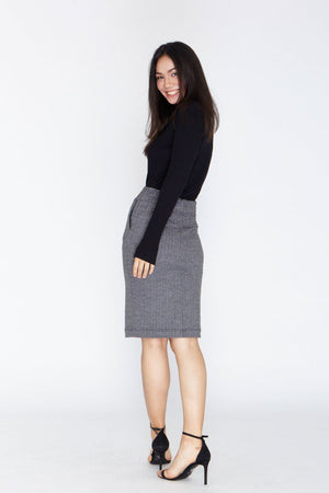Liberica Skirt - Grey Herringbone