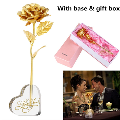 24K Gold Foil Rose Flower with Acrylic Heart Shaped Vase