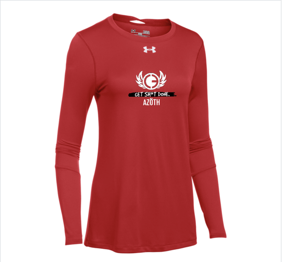 AZOTH UA WOMEN'S LOCKER 2.0 LONGSLEEVE T (RED) - AZOTH