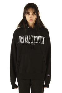 100% Electronica Champion® Logo Hoodie Black - SS20 - 100% Electronica