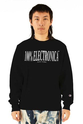 100% Electronica Champion® Logo Crewneck Black - SS20 - 100% Electronica