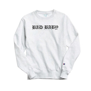 Bad Baby Champion Sweatshirt by Negative Gemini - Silver - 100% Electronica