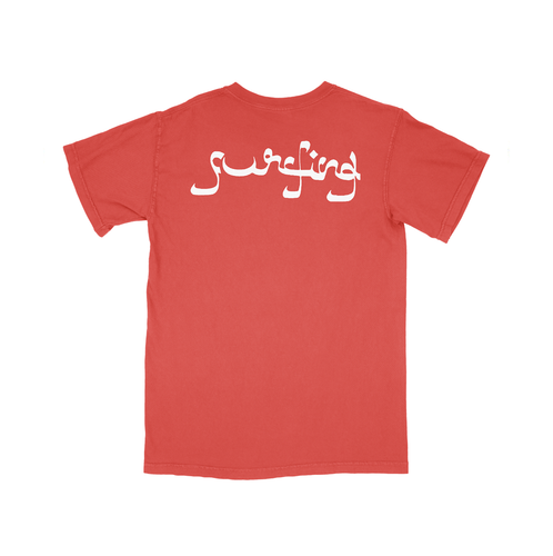 Surfing Screen-printed Logo Tee - Incubo® Red - 100% Electronica