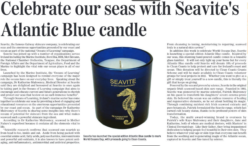 Celebrate Our Seas With Seavite's Atlantic Blue Candle