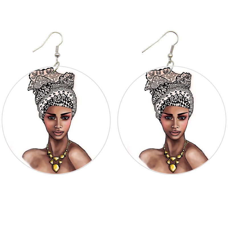 African ethnic drop earrings | Turban woman