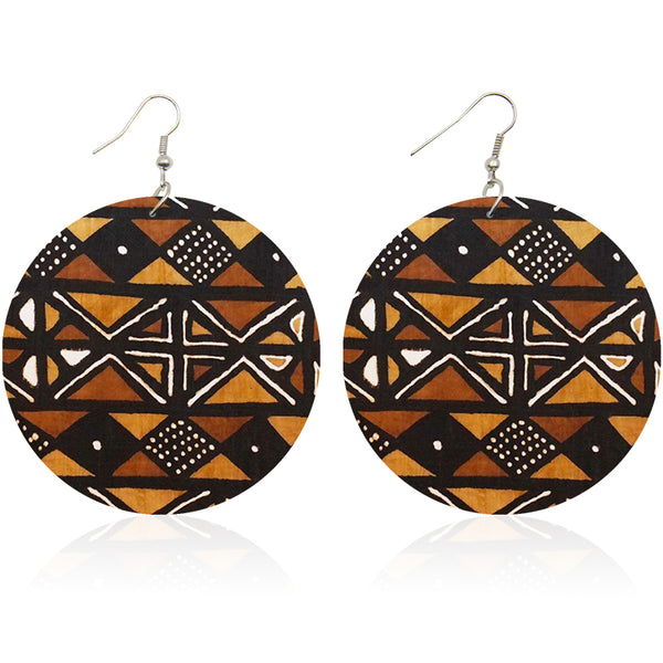 Brown Orange Mud cloth | African inspired earrings