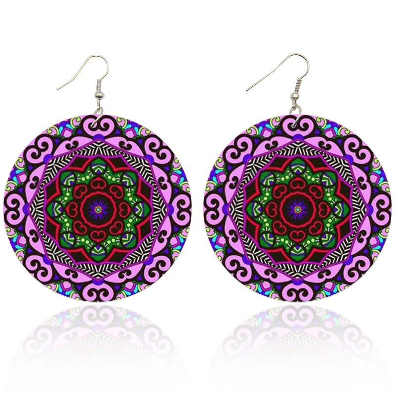 Pink / Purple ancient flower | African inspired earrings
